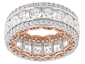 Cubic Zirconia Silver And 18k Rose Gold Over Silver Band 10.86ctw (5.38ctw DEW)