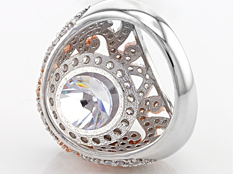 Cubic Zirconia Silver And 18k Rose Gold Over Silver Ring 10.94ctw (6.73ctw DEW)