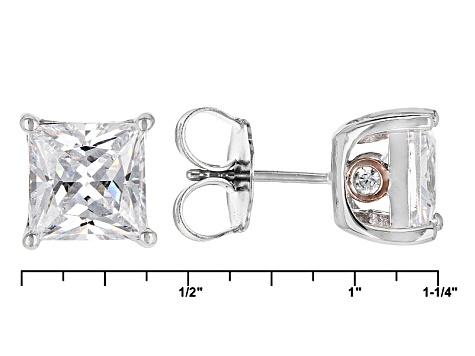Cubic Zirconia Silver And 18k Rose Gold Over Silver Stud Earrings 10.42ctw (6.26ctw DEW)
