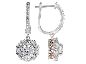 Cubic Zirconia Silver And 18k Rose Gold Over Silver Earrings 5.94ctw (3.18ctw DEW)