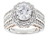 Cubic Zirconia Silver And 18k Rose Gold Over Silver Ring 7.94ctw (4.46ctw DEW)