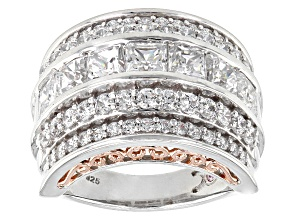 Cubic Zirconia Silver And 18k Rose Gold Over Silver Ring 7.49ctw (3.96ctw DEW)