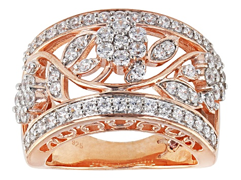Cubic Zirconia 18k Rose Gold Over Silver Ring 2.40ctw (1.34ctw DEW)