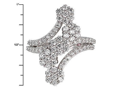 Cubic Zirconia Silver And 18k Rose Gold Over Silver Ring 3.31ctw (1.56ctw DEW)