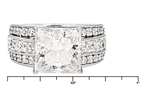 Cubic Zirconia Silver And 18k Rose Gold Over Silver Ring 12.00ctw (7.73ctw DEW)