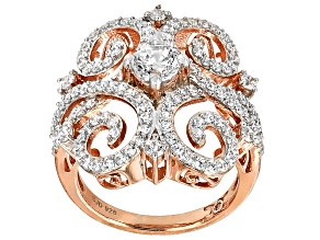 Cubic Zirconia Silver And 18k Rose Gold Over Silver Ring 3.05ctw (1.40ctw DEW)