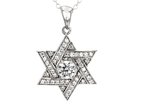 Cubic Zirconia Silver And 18k Rose Gold Over Silver Pendant With Chain 1.59ctw (.88ctw DEW)