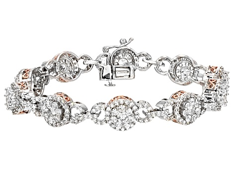 Cubic Zirconia Silver And 18k Rose Gold Over Silver Bracelet 12.70ctw (5.79ctw DEW)