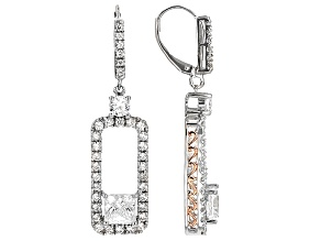 Cubic Zirconia Silver And 18k Rose Gold Over Silver Earrings 8.05ctw (4.28ctw DEW)