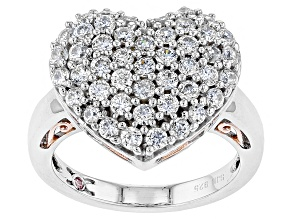 Cubic Zirconia Silver And 18k Rose Gold Over Silver Heart Ring 3.05ctw (1.41ctw DEW)