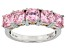 Pink Cubic Zirconia Rhodium & 18k Rose Gold Over Sterling Silver Ring 5.53ctw