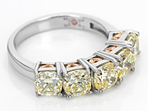 Yellow Cubic Zirconia Rhodium & 18k Rose Gold Over Sterling Silver Ring 5.53ctw