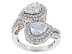 Cubic Zirconia Silver And 18k Rose Gold Over Silver Ring 5.74ctw (3.58ctw DEW)