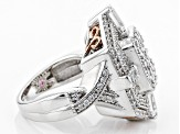 Cubic Zirconia Silver And 18k Rose Gold Over Silver Ring 3.95ctw (2.32ctw DEW)