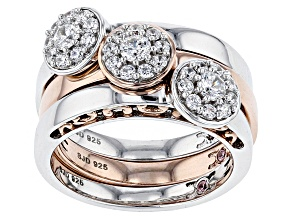 Cubic Zirconia Silver And 18k Rose Gold Over Silver Ring Set Of 3, 1.40ctw (.73ctw DEW)