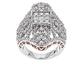 Cubic Zirconia Silver And 18k Rose Gold Over Silver Ring 4.39ctw (2.14ctw DEW)