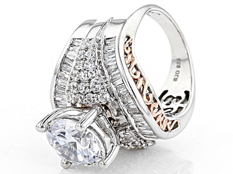 Cubic Zirconia Silver And 18k Rose Gold Over Silver Ring 10.32ctw (6.57ctw DEW)