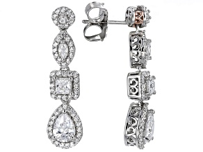 White Cubic Zirconia Rhodium Over Sterling & 18k Rose Gold Over Sterling Earrings 5.49ctw