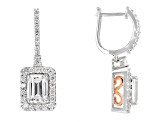 White Cubic Zirconia Rhodium Over Silver & 18k Rose Gold Over Silver Earrings 4.90ctw