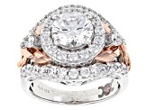 White Cubic Zirconia Rhodium Over Silver & 18k Rose Gold Over Silver Ring 6.51ctw