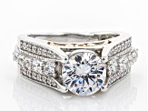 White Cubic Zirconia Rhodium Over Silver & 18k Rose Gold Over Silver Ring 4.52ctw