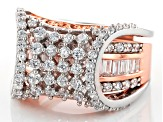 White Cubic Zirconia Rhodium Over Silver & 18k Rose Gold Over Silver Ring W/ Guard 4.27ctw