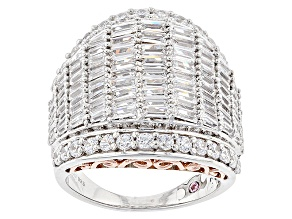 White Cubic Zirconia Rhodium & 18k Rose Gold Over Sterling Silver Ring 6.18ctw