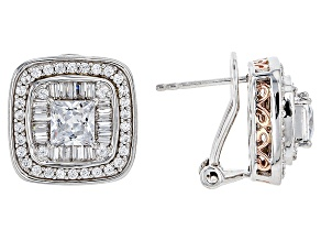 White Cubic Zirconia Rhodium Over Silver & 18k Rose Gold Over Silver Earrings 4.27ctw