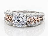 White Cubic Zirconia Rhodium Over Silver & 18k Rose Gold Over Silver Ring 4.66ctw