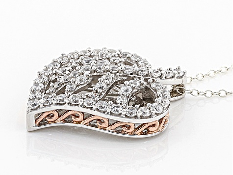 White Cubic Zirconia Rhodium Over Silver & 18k Rose Gold Over Silver Pendant 3.02ctw