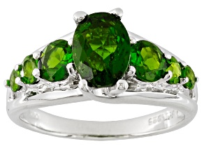 2.60ctw Green Chrome Diopside .925 Sterling Silver 7-Stone Ring