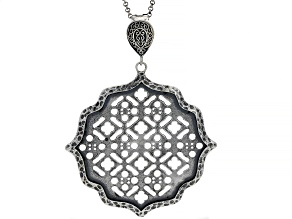 "Sterling Silver Moroccan Window Screen Design Enhancer With 30"" Chain"