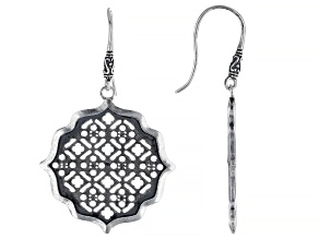 Sterling Silver Moroccan Window Screen Design Dangle Earrings