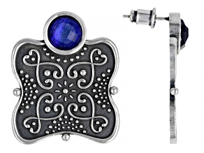 Blue Quartz Doublet Sterling Silver Filigree Stud Earrings