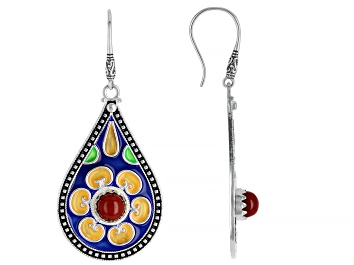 Picture of Red Resin & Multi-Color Enamel Silver Floral Drop Earrings