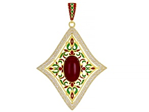 Ruby Simulant And Multi-Color Enamel 18k Gold Over Silver Enhancer