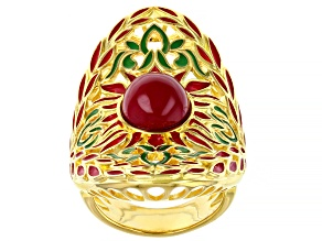 Ruby Simulant Multi-Color Enamel 18k Gold Over Silver Ring