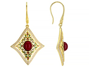 Ruby Simulant And Multi-Color Enamel 18k Gold Over Silver Earrings