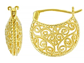 18k Gold Over Sterling Silver Filigree Huggie Earrings