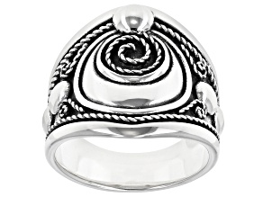 Oxidized Sterling Silver Spiral Ring