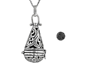 Lava Rock Silver Diffuser Pendant With 18