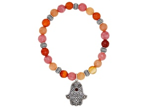 Pink, Peach, And Red Onyx Bead Silver Hamsa Hand Stretch Bracelet