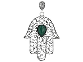 Green Onyx Sterling Silver Hamsa Hand Enhancer