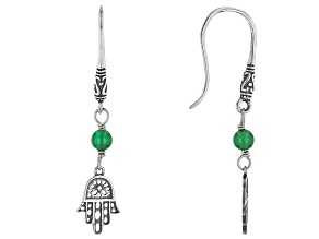 Green Onyx Bead Silver Hamsa Dangle Earrings