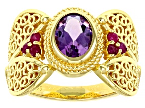 Amethyst & Ruby 18k Yellow Gold Over Sterling Silver Filigree Ring 0.97ctw