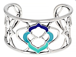 Multi-Color Enamel Sterling Silver Cuff Open Design Bracelet