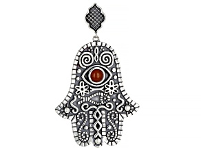 Onyx Sterling Silver Hamsa & Evil Eye Enhancer