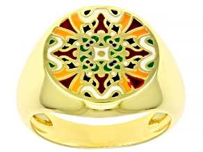 Multi-Color Enamel 18k Gold Over Silver Ring