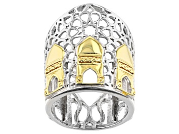 Picture of Sterling Silver With 18K Yellow Gold Accents Palace Motif Ring