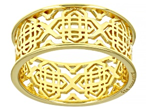 18k Yellow Gold Over Sterling Silver Filigree Open Design Ring